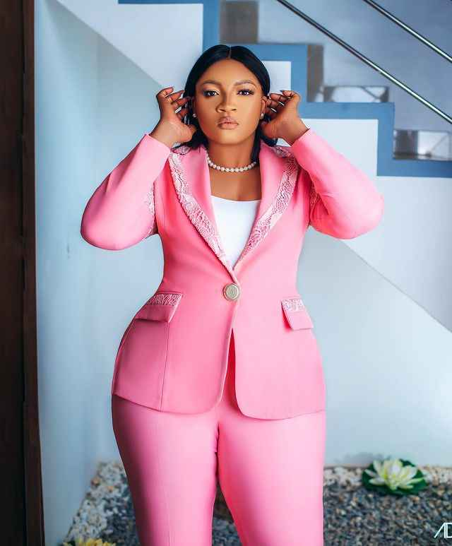 Omotola Jalade-Ekeinde stuns in chic pink suit