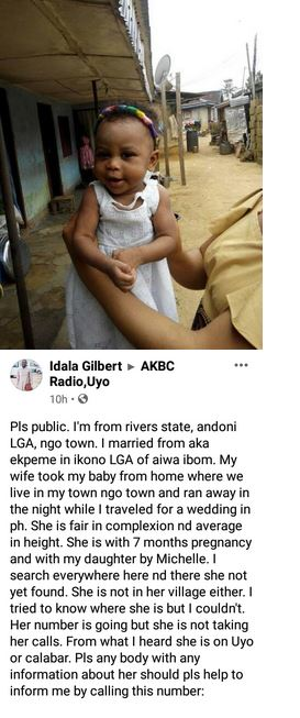 """""""Help Me Find My Wife and Child"""" - Man Cries Out as He Claims His Pregnant Wife Eloped With Their Child."""