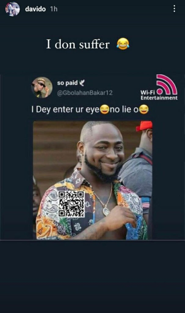 """""""I don suffer"""" – Davido shares meme with his photo used as funny meme"""